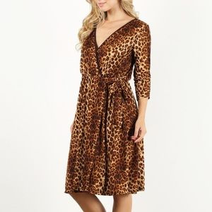 Dresses & Skirts - Plus Size Faux Wrap Leopard Print Dress